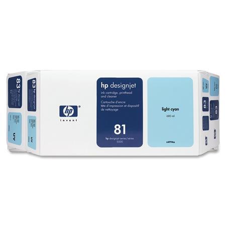 HP 81 Light Cyan Dye-Based Ink Cartridge  Printhead and Printhead Cleaner Bundle - Value Pack