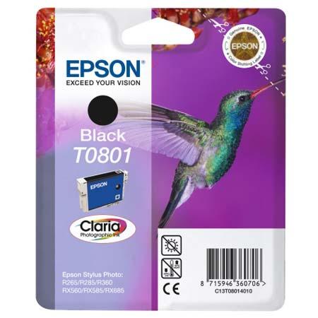 Epson T0801 (T080140) Black Original Ink Cartridge (Hummingbird)
