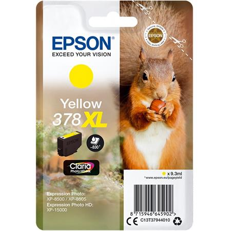 Epson 378XL Yellow Original Claria Photo HD High Capacity Ink Cartridge (Squirrel)