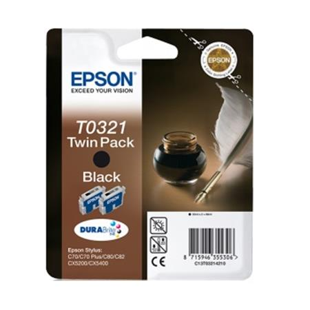 Epson T0321 (T032140) Black Original Ink Cartridge Twin Pack (Quill)