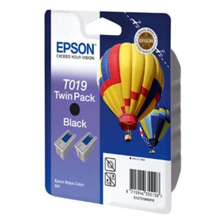 Epson T019 (T019402) Black Original Ink Cartridge Twin Pack (Hot Air Baloon)