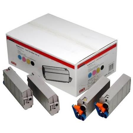 OKI 01101101 Original Rainbow Pack of 4 Toner Cartridges Black  Cyan  Magenta  Yellow