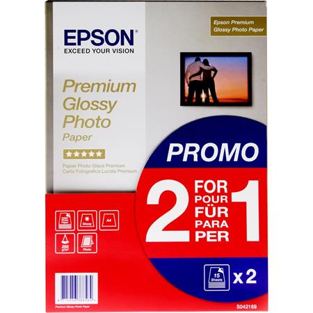 EPSON PREMIUM GLOSSY PHOTO PAPER 2 FOR 1 A4 255GSM 2 X 15 SHEETS