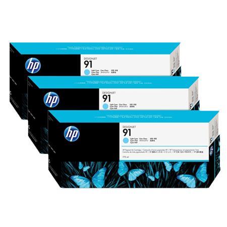 HP 91 Light Cyan Original Ink Cartridge with Vivera Ink 3 Pack