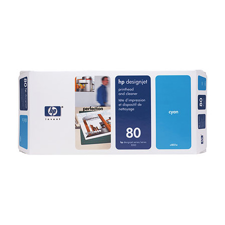 HP 80 Cyan Original Printhead and Printhead Cleaner Bundle