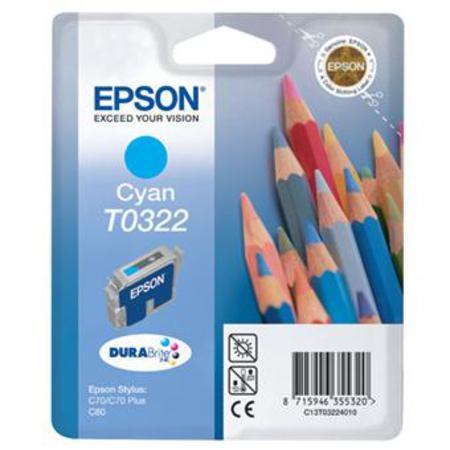 Epson T0322 (T032240) Cyan Original Ink Cartridge (Pencil)