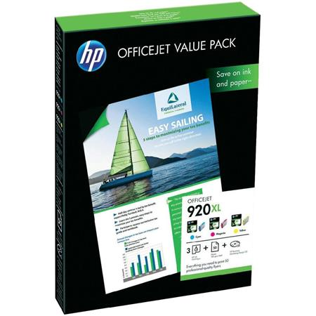 HP 920XL (CH081AE) OfficeJet Value Pack - 3 Colour Cartridges + 50 A4 Sheets