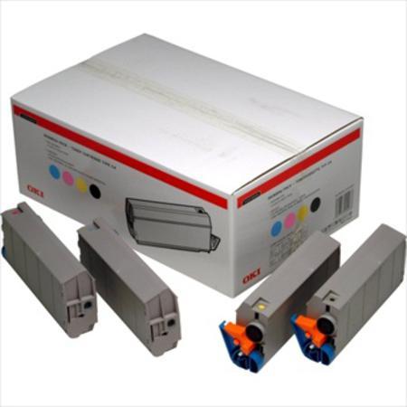 OKI 01101001 Original Rainbow Pack of 4 Toner Cartridges Black  Cyan  Magenta  Yellow