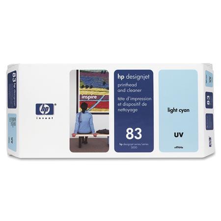 HP 83 Light Cyan Pigment-Based UV-Resistant Printhead and Printhead Cleaner Bundle