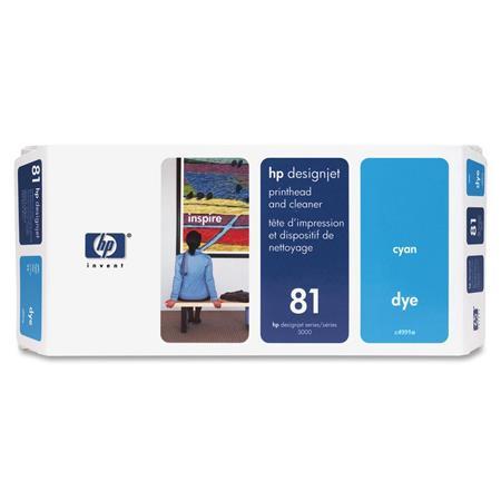 HP 81 Cyan Dye-Based Ink Cartridge  Printhead and Printhead Cleaner Bundle - Value Pack