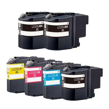 Compatible Multipack Brother LC22U Full Set + 2 EXTRA Black Ink Cartridges (6 Pack)
