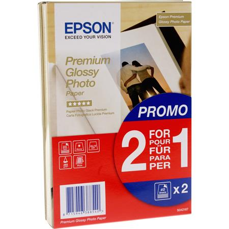 """Epson S042153 Glossy Photo Paper 4"""" x 6"""" (2 x 40 Sheets)"""