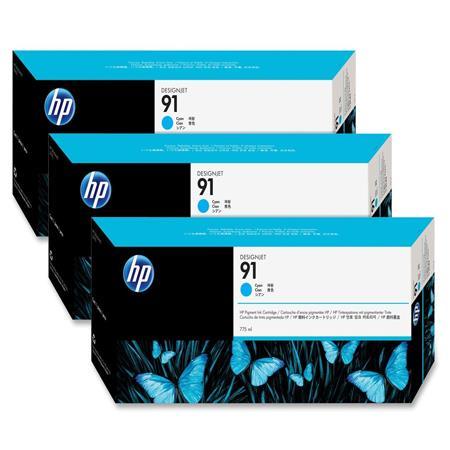 HP 91 Cyan Original Ink Cartridge with Vivera Ink 3 Pack