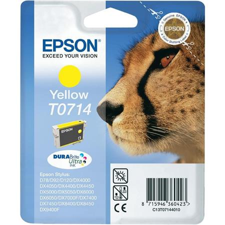 Epson T0714 (T071440) Yellow Original Ink Cartridge (Cheetah)