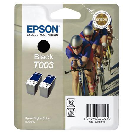 Epson T003 (T003012) Black Original Ink Cartridge Twin Pack (Cyclist)