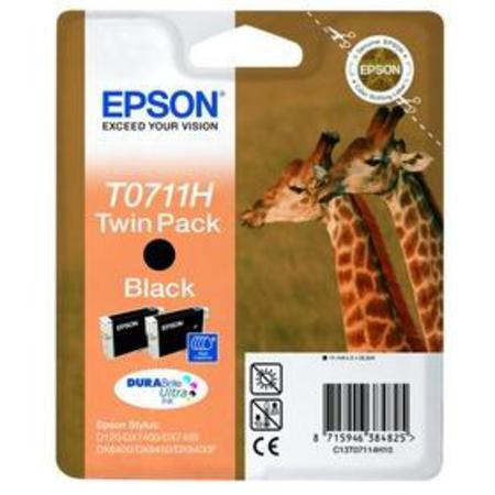 Epson T0711H (T07114H) Black High Capacity Original Ink Cartridge Twin Pack (Giraffe)