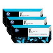 HP 91 Matte Black Original Ink Cartridge with Vivera Ink 3 Pack