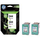 HP 344 Original Twinpack Tri-Colour Inkjet Print Cartridge with Vivera Inks